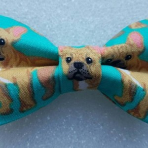 Teal French bulldog pet bow tie