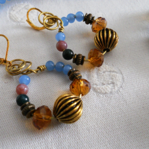 Multi-color Agate gemstone, blue glass beads Necklace Set