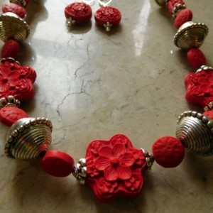 Red and bold Cinnabar Carved beads Necklace and matching earrings set.#NBES0101