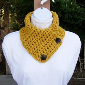 Mustard NECK WARMER SCARF with Two Wood Buttons, Small Buttoned Cowl, Yellow Gold Thick Winter Acrylic Crochet Knit, Ready to Ship in 3 Days
