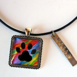 Paw Print Necklace, Pet ID Tag, Pet Memorial Jewelry, Pet Tag, Sympathy Gift, Dog Mom Gift, Dog ID Tag, Personalized Dog Tag, Cameo Necklace