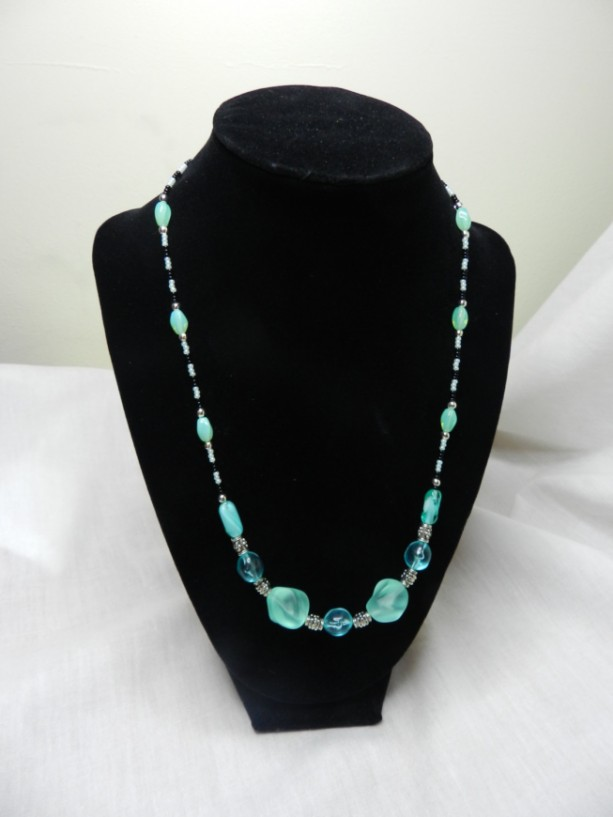 Elegant Design with Greens and black glass beads