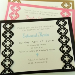 "Hand-cut Layered Invitation in ""cross"" Style-Pack of 10-Perfect for Showers, Weddings, Sweet 16, Birthday, etc. Several Colors Available"