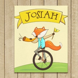 Personalized 8X10 Art Print, Cute Fox, Fox on a Unicycle, Trumpet, Banner, Kids Name Plaques, Fox Wall Art