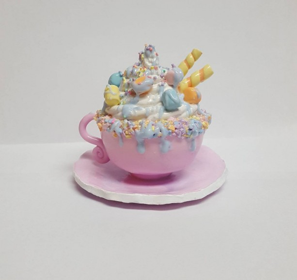 OOAK Polymer Clay Unicorn Hot Chocolate Mug Miniature Home Decor