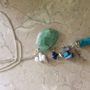 Boho Long Necklace with turquoise stone claw pendant & stone charms #N00149