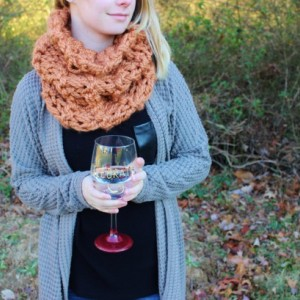 Rusted Peach Knitted Circle Scarf with Double Knit Loop Pattern, Chunky Soft Fashion Neck Warmer