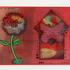 Scalloped flower with butterfly on 2 squares