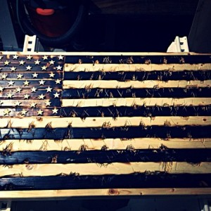 Hand Crafted Wood American Flag