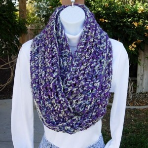 Skinny Infinity Loop Cowl Scarf, Vibrant Purple, Off White, Blue, Thick Extra Soft Warm Long Crochet Knit Winter Circle Wrap..Ready to Ship in 3 Days