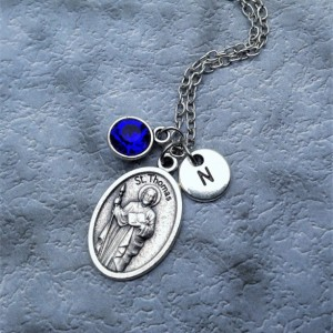 Personalized Silver Plated Saint Thomas Necklace. Patron Saint of Architects