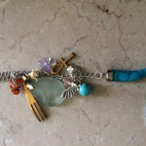 Boho Long Necklace with turquoise stone claw pendant & charms, #N00147