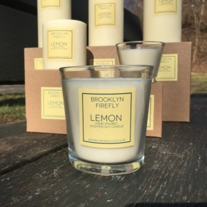 Lemon Candle. Scented Soy. 12 Ounce Reusable Glass Jar. Gift Boxed.