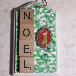 Scrabble® Game Tile Christmas Ornament (FREE SHIPPING!) Noel Green