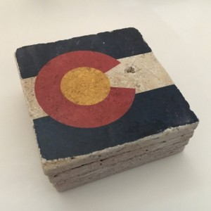 Colorado State Flag Natural Stone Coasters, Set of 4 with Full Cork Bottom