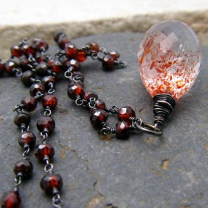 Vampire's Tears Necklace - Lepidocrosite, Red Zircon and Blackened Silver
