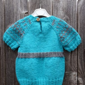 Hand Knitted Girl Sweater, Knit Blue Sweater, Size 3-4 years, Little Girl Blue Sweater, Short Sleeves Girl Tunic,All Handmade, Ready to Ship