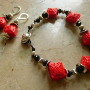 3D Red Cinnabar Carved square beads and black beads bracelet with earrings set matching.#BES00122