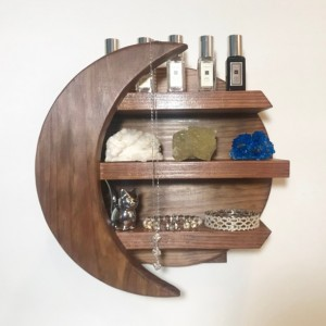 MOON SHELF, CRYSTALS Shelf, Wall Decor, Natural Stain Wooden Shelf, Essential Oil Shelving, Celestial, Moon, Mantel Piece, Shelving, Moon