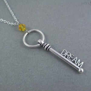 Silver Dream Key Crystal Necklace - Writer Gift - Author Gift