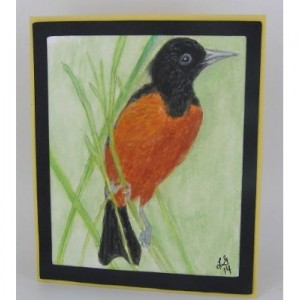 Oriole Greeting Card, Hand Painted