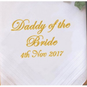 Embroidered Father of the Bride Daddy Wedding Handkerchief, Customized personalised personalized Hankies Wedding Gift