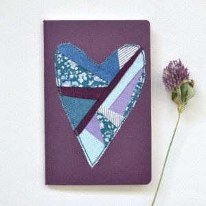 Patchwork heart notebook -- small plum Fabriano journal