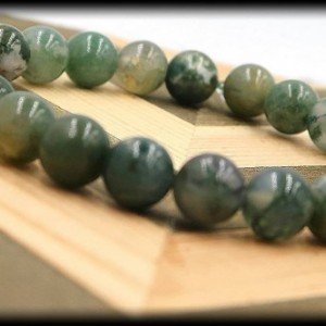 Green Moss Agate Solid Gemstone Bracelet for Wealth and Abundance