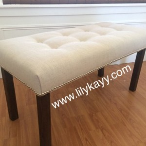 Upholstered bench button tufted and nail head trim end of bed stool ottoman
