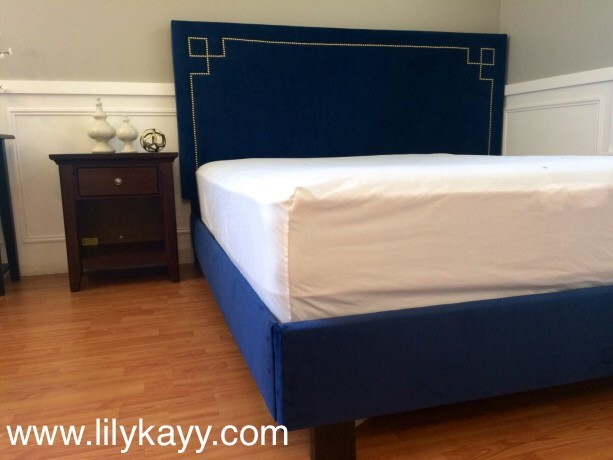 Navy Velvet upholstered headboard and bed frame with Gold nail head trim