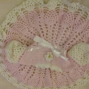 Baby girl Crochet Dress with Booties, Baby Shower gift, Baby Party Dress, Infant. girl crochet dress, Pink dress, Size 3- 6 month