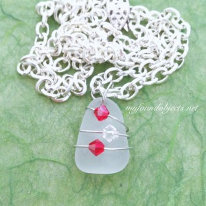 By the Sea Sea Glass and Crystal Pendant, Red/Clear