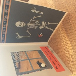 Skeleton in a house Halloween card