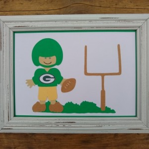 "5"" x 7"" framed Green Bay Packer football player paper doll"