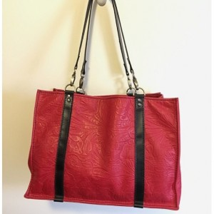 Large Leather Tote, Market bag with shoulder straps using an embossed leather pattern.