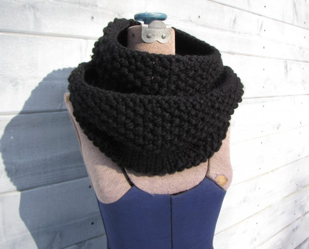 Black Chunky Knit Infinity Scarf - Handmade Warm Soft Winter Circle Scarf or Cowl - Acrylic or Wool