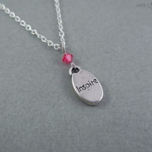 Word Charm Crystal Necklace With Your Choice of Color - Writer Gift
