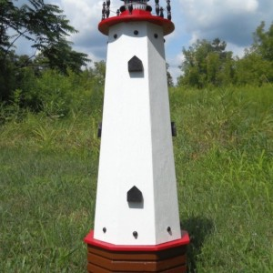 "36"" Solar lighthouse wooden decorative lawn and garden ornament - red accents"
