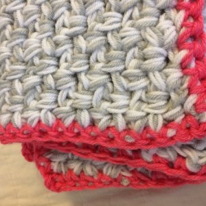 Coral Modern Crochet Baby Blanket ... Coral, gray and white