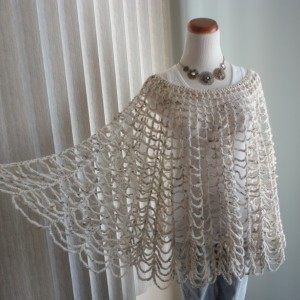 PONCHO Crocheted Oatmeal-colored, Wear Multiple Ways!