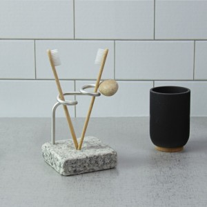 Toothbrush Holder with Recycled Granite and Aluminum