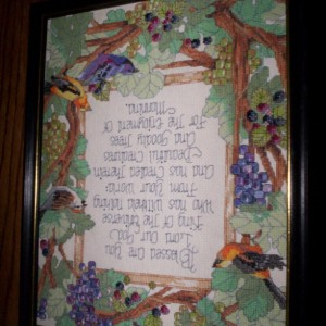 Birds and Blessing cross stitch picture