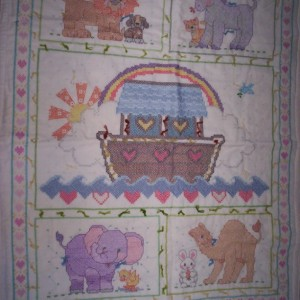Noah's Ark Embroidered Baby Blanket