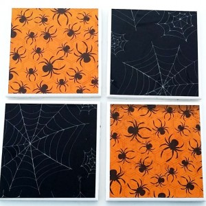 Spider and Webs Drink Coasters for Halloween