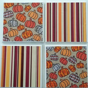 Fall Pumpkins and Stripes Drink Coasters