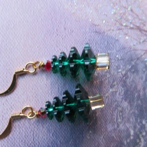 Christmas Tree Earrings with red top