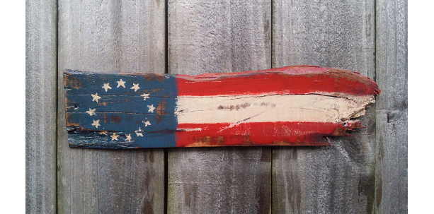 Handmade Rustic Reclaimed Distressed Pallet Wood Amercan Flag Sign