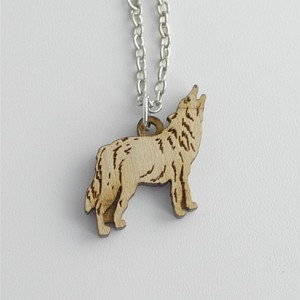 Wood Wolf Necklace