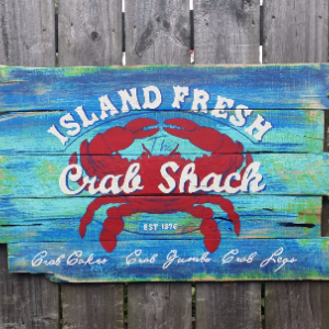 Handcrafted Reclaimed Wooden Crab Shack Pallet Sign