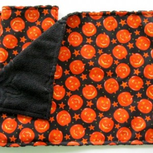 Halloween handmade reversible placemats: set of 2; pumpkin print and black terry table linens